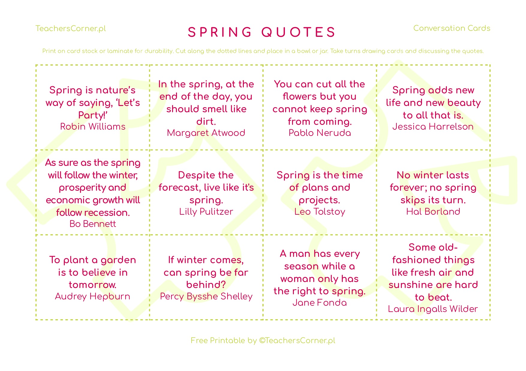 spring quotes conversation cards