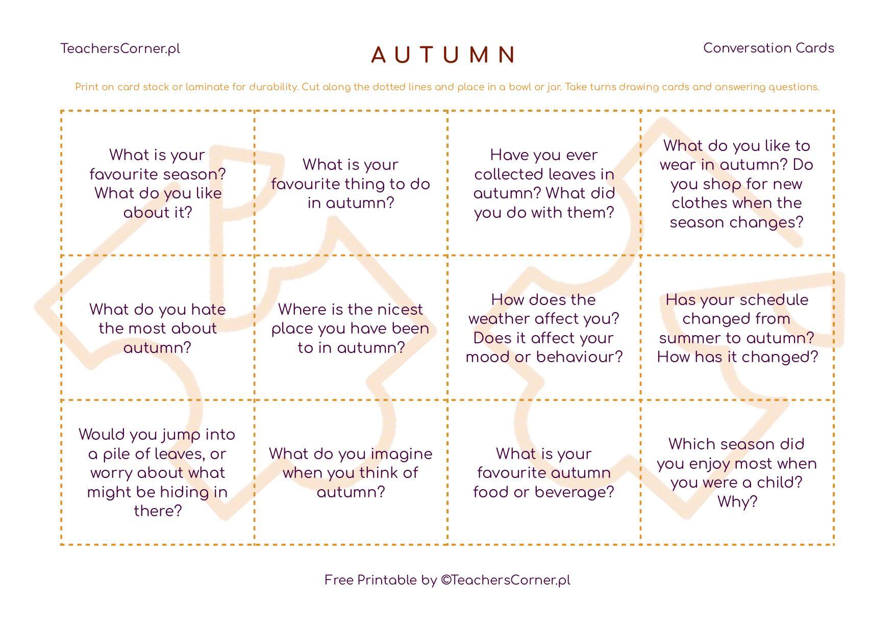 Autumn Conversation Cards