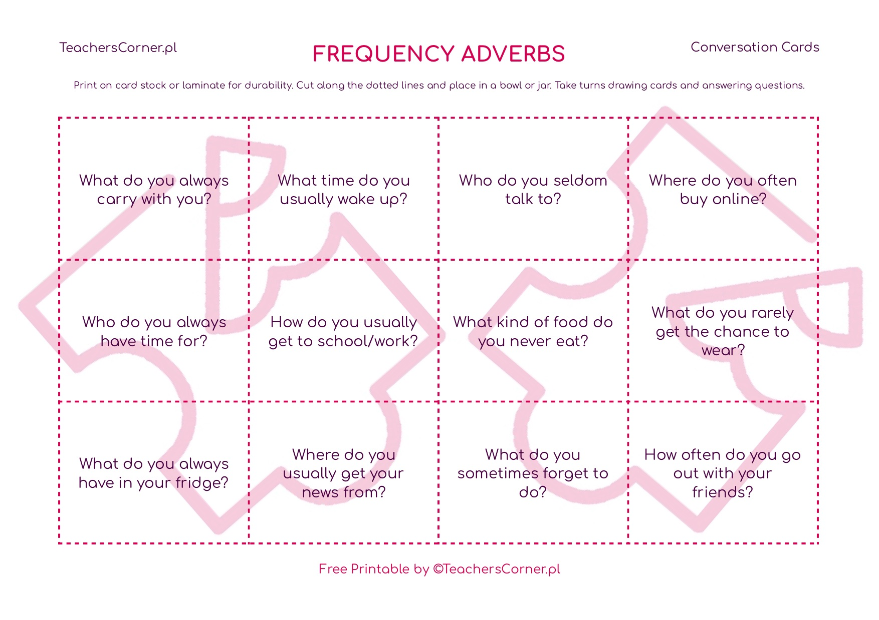 frequency adverbs conversation cards