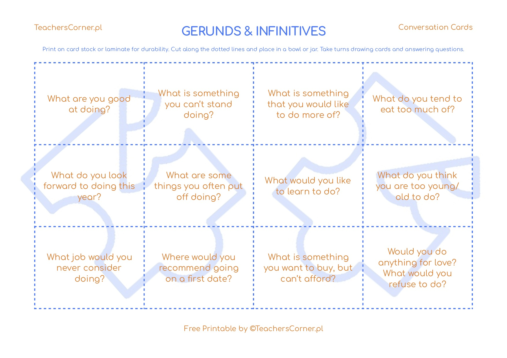 Gerunds and infinitives conversation cards