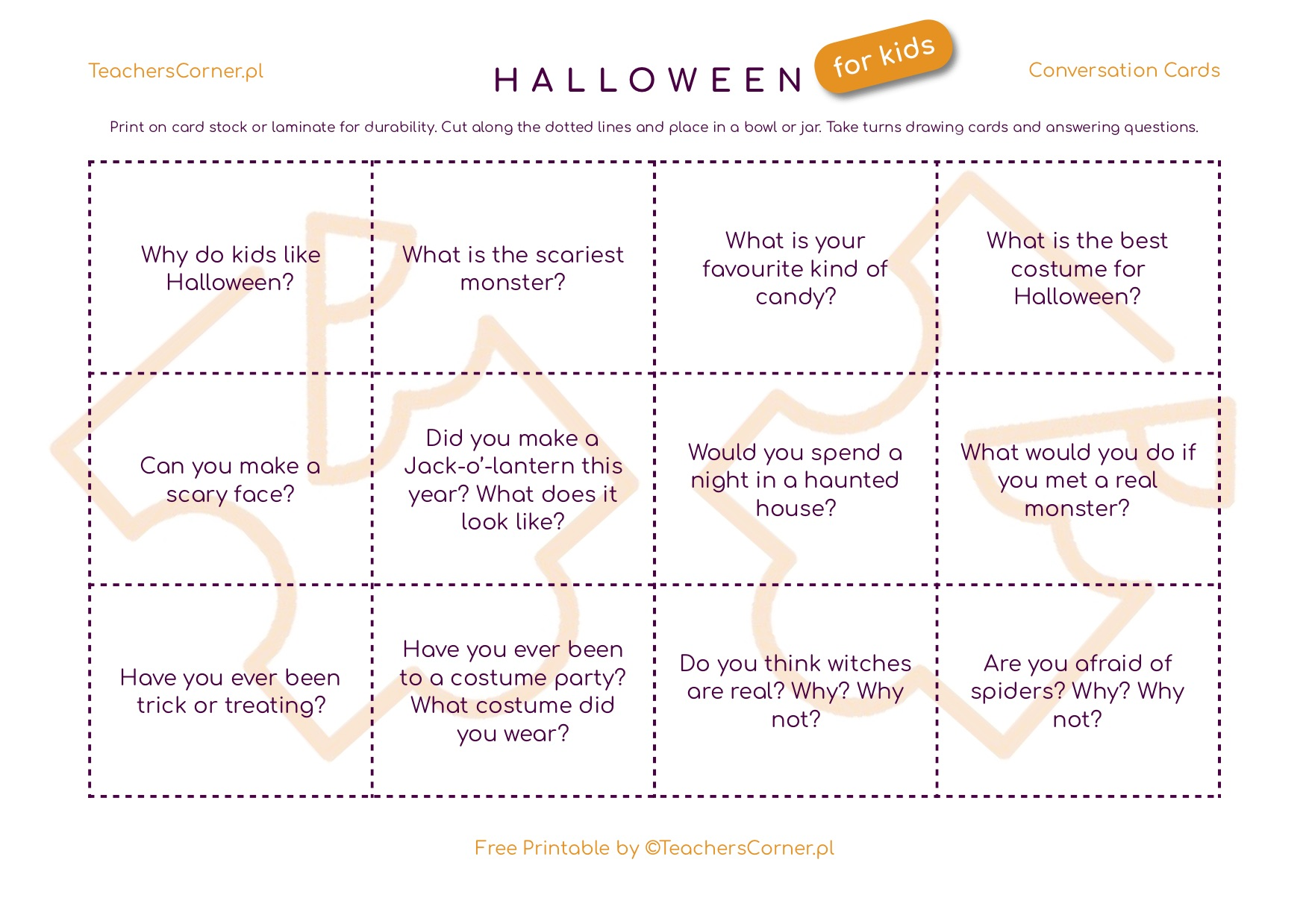 halloween conversation cards
