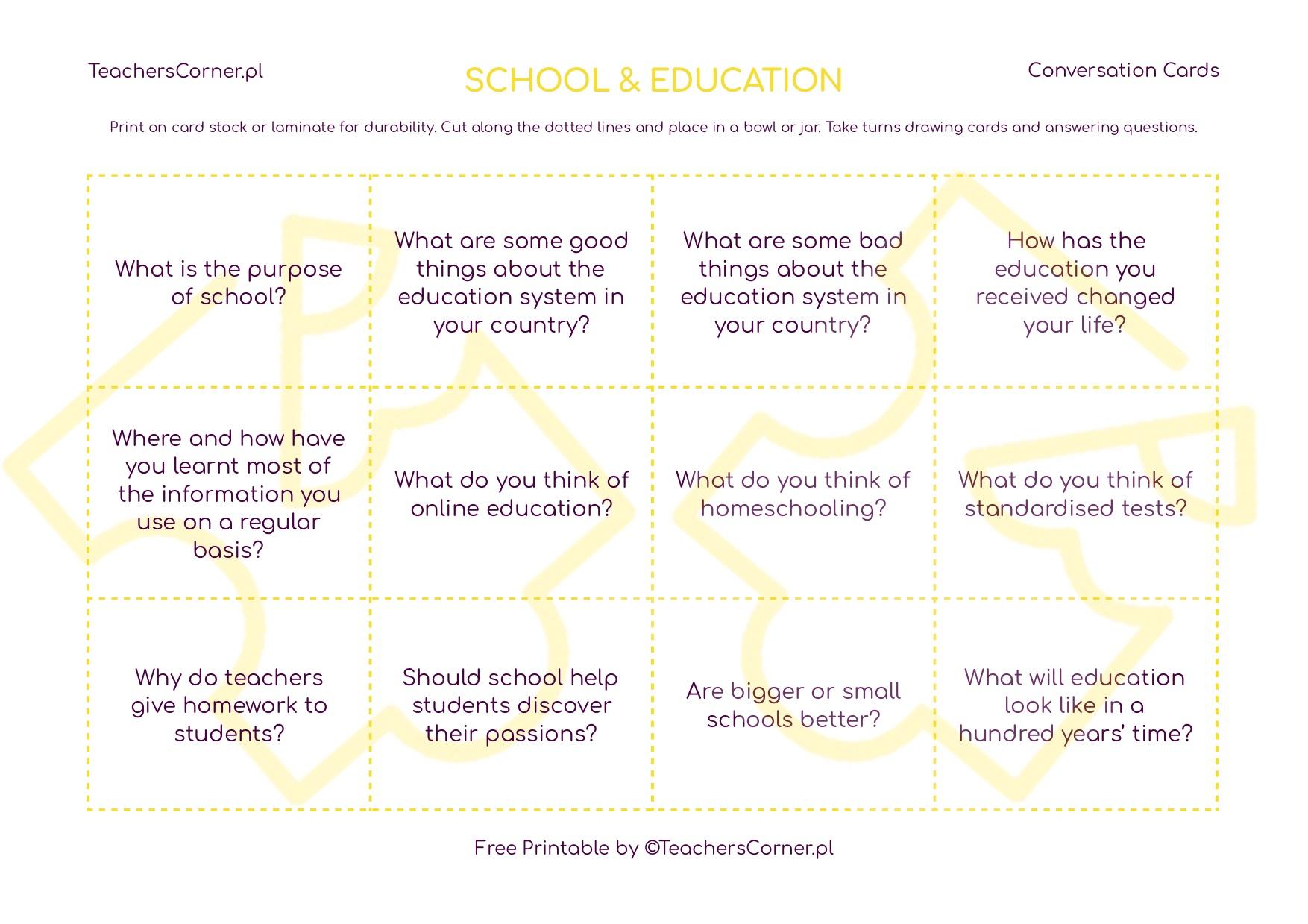 Conversation Cards - Education