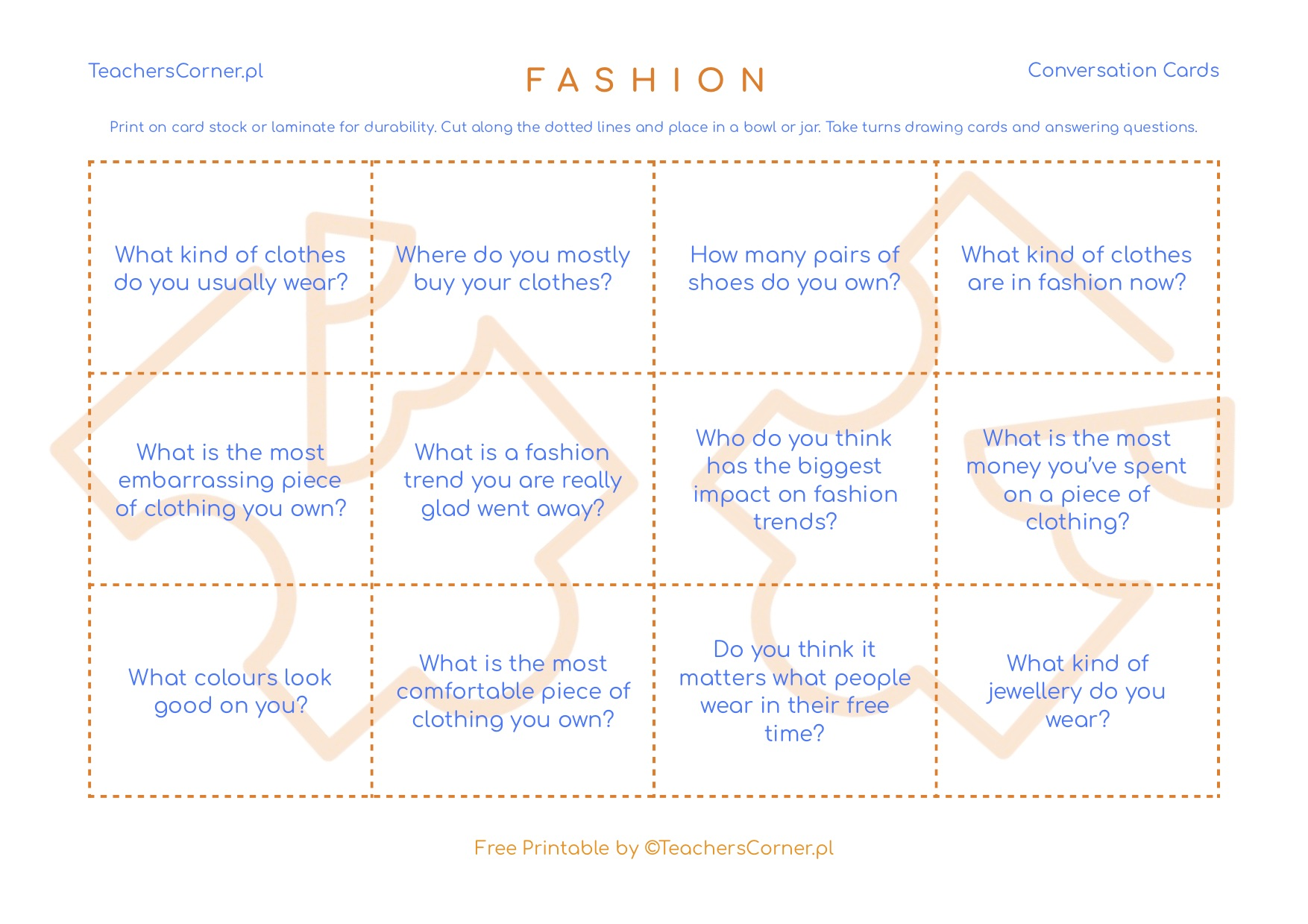 fashion conversation cards