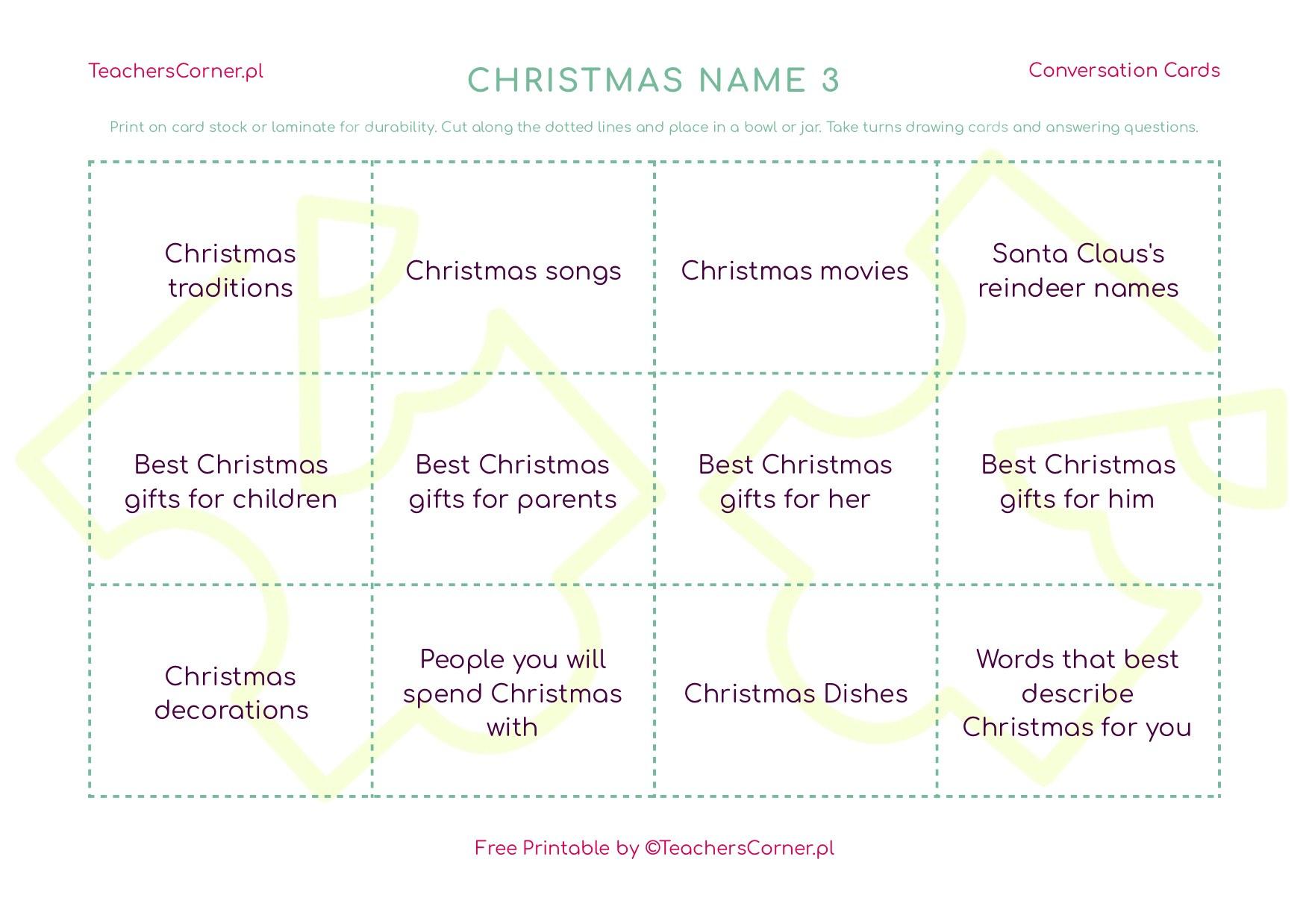 Christmas name 3 conversation cards