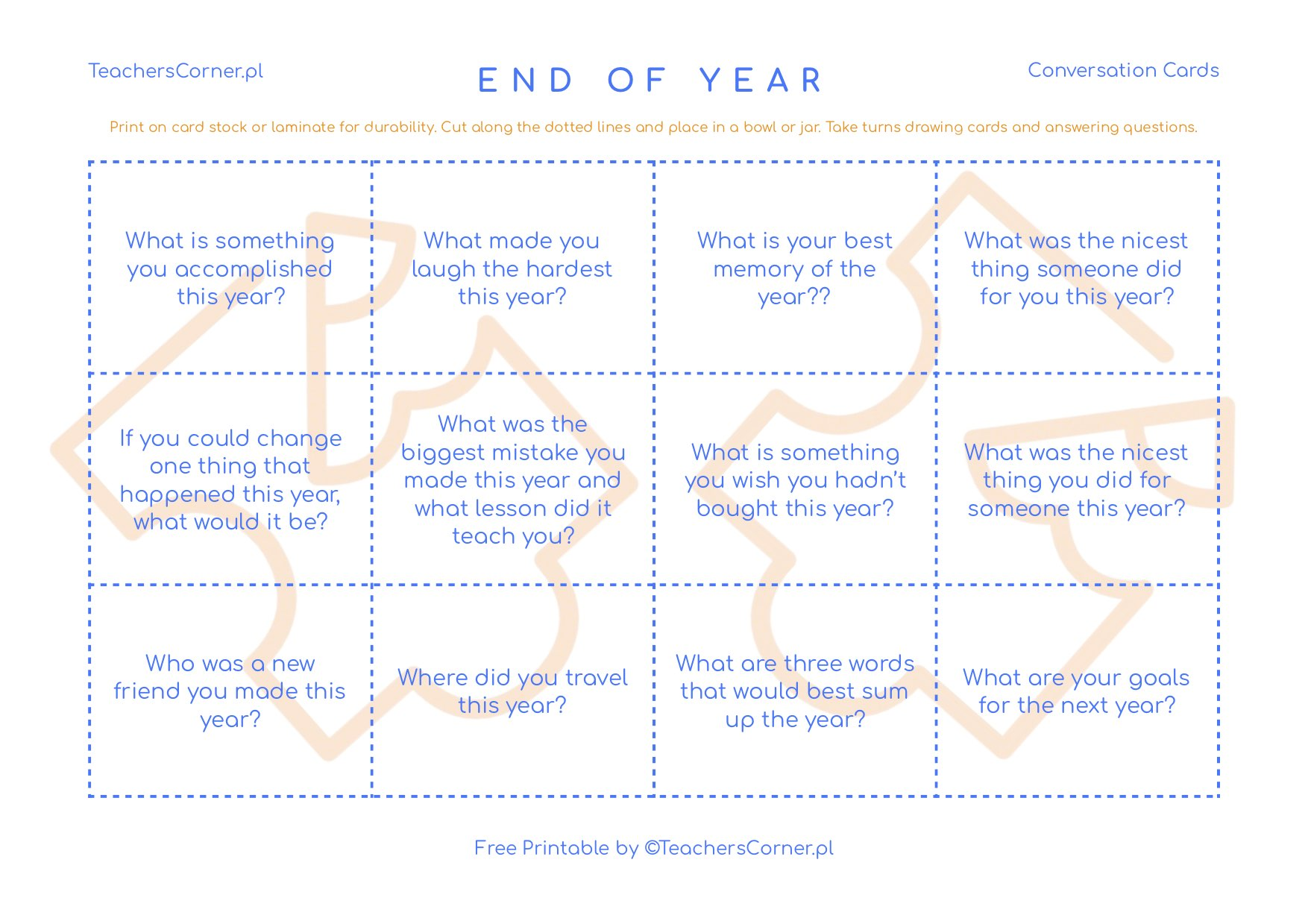 end of year conversation cards