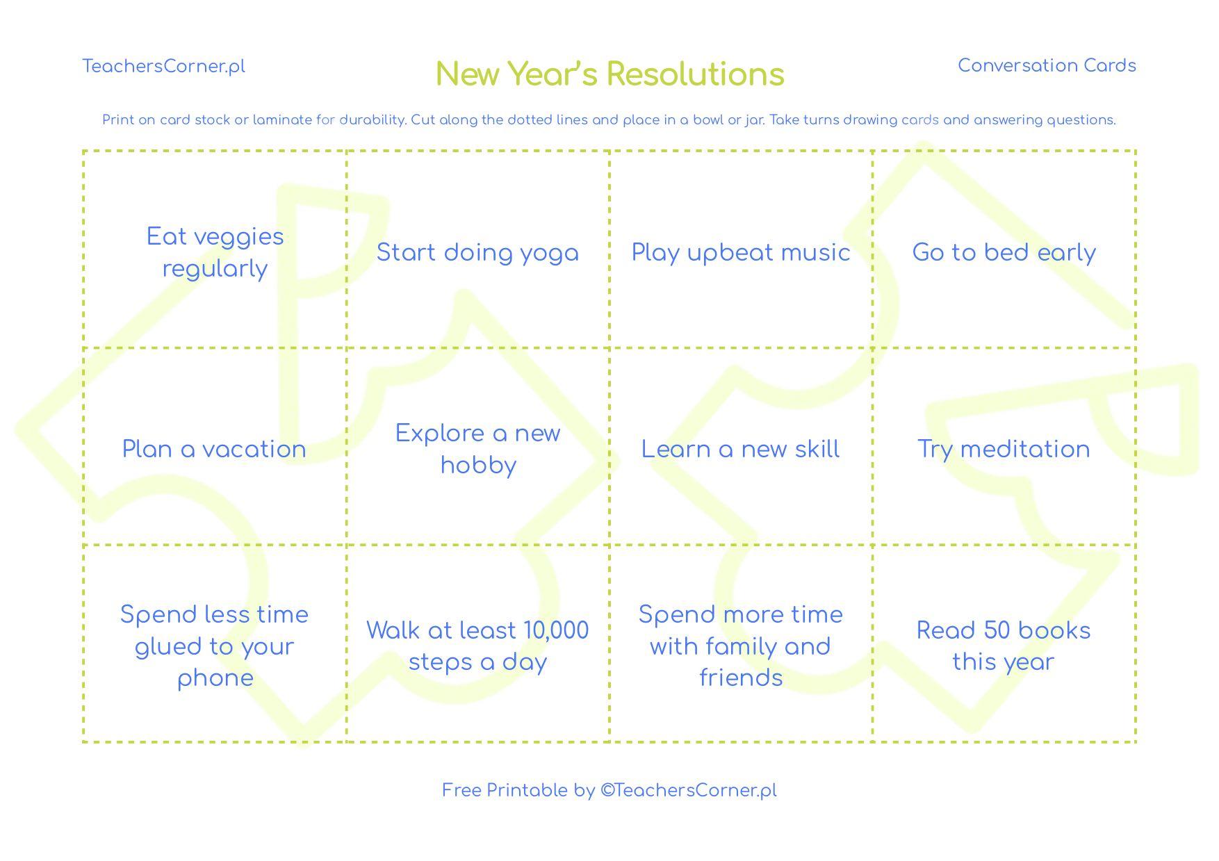 New year's resolutions karty konwersacyjne