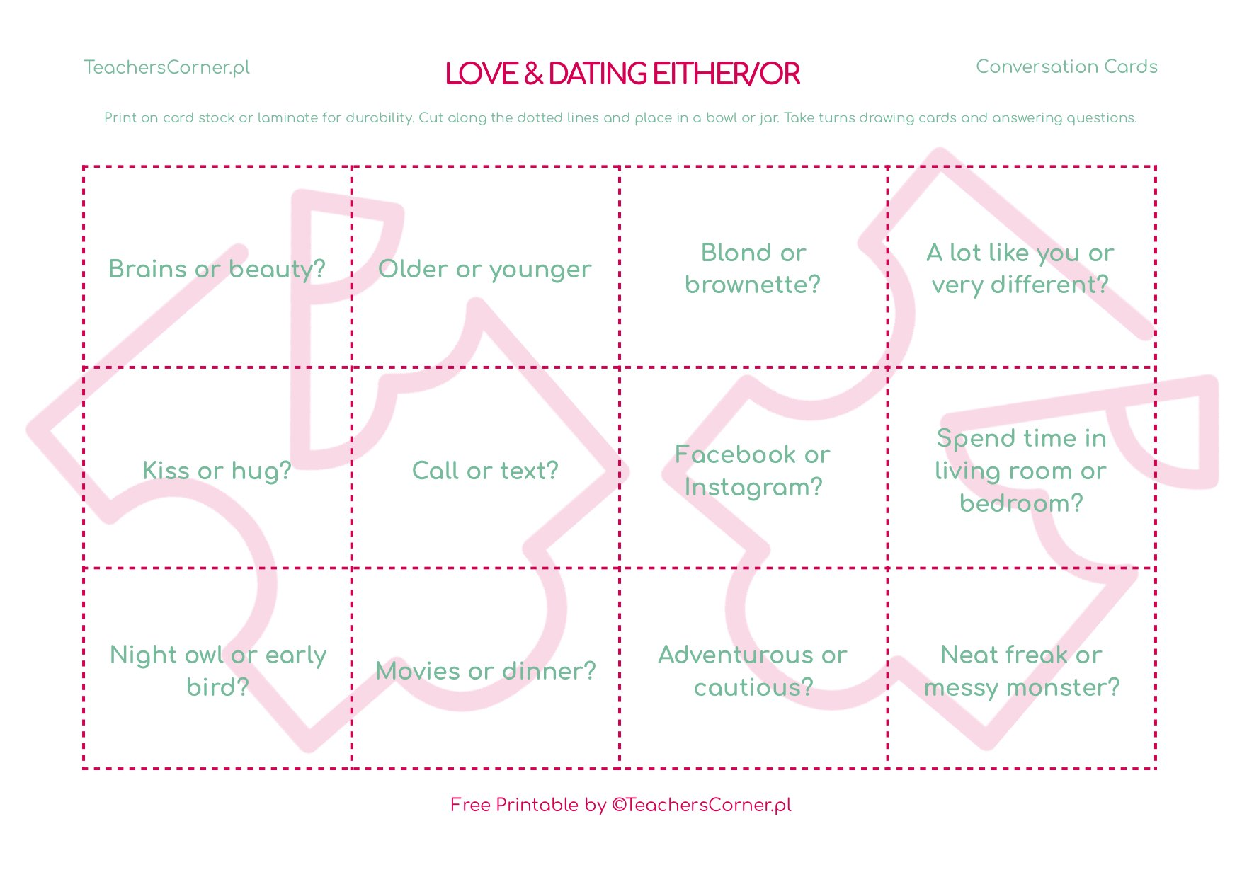 love and dating either or conversation cards
