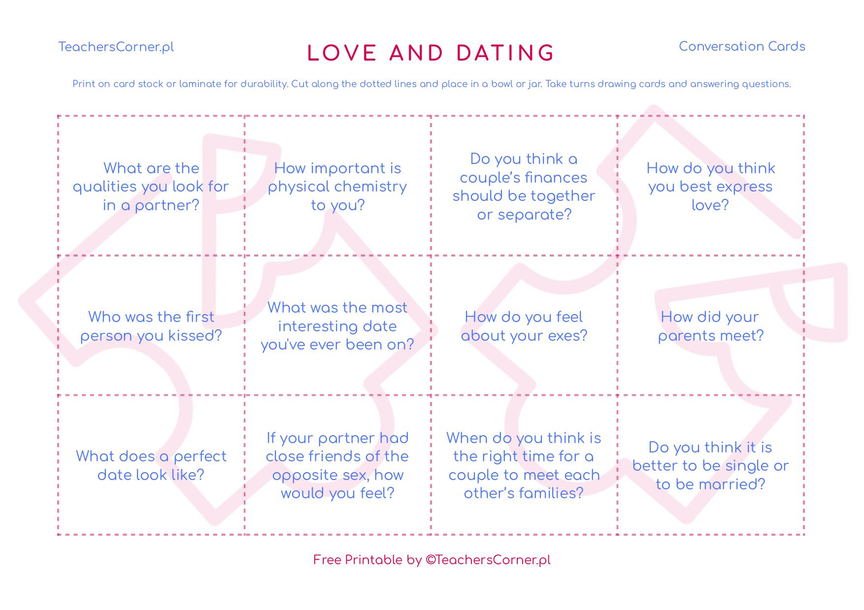 Love and Dating Conversation Cards