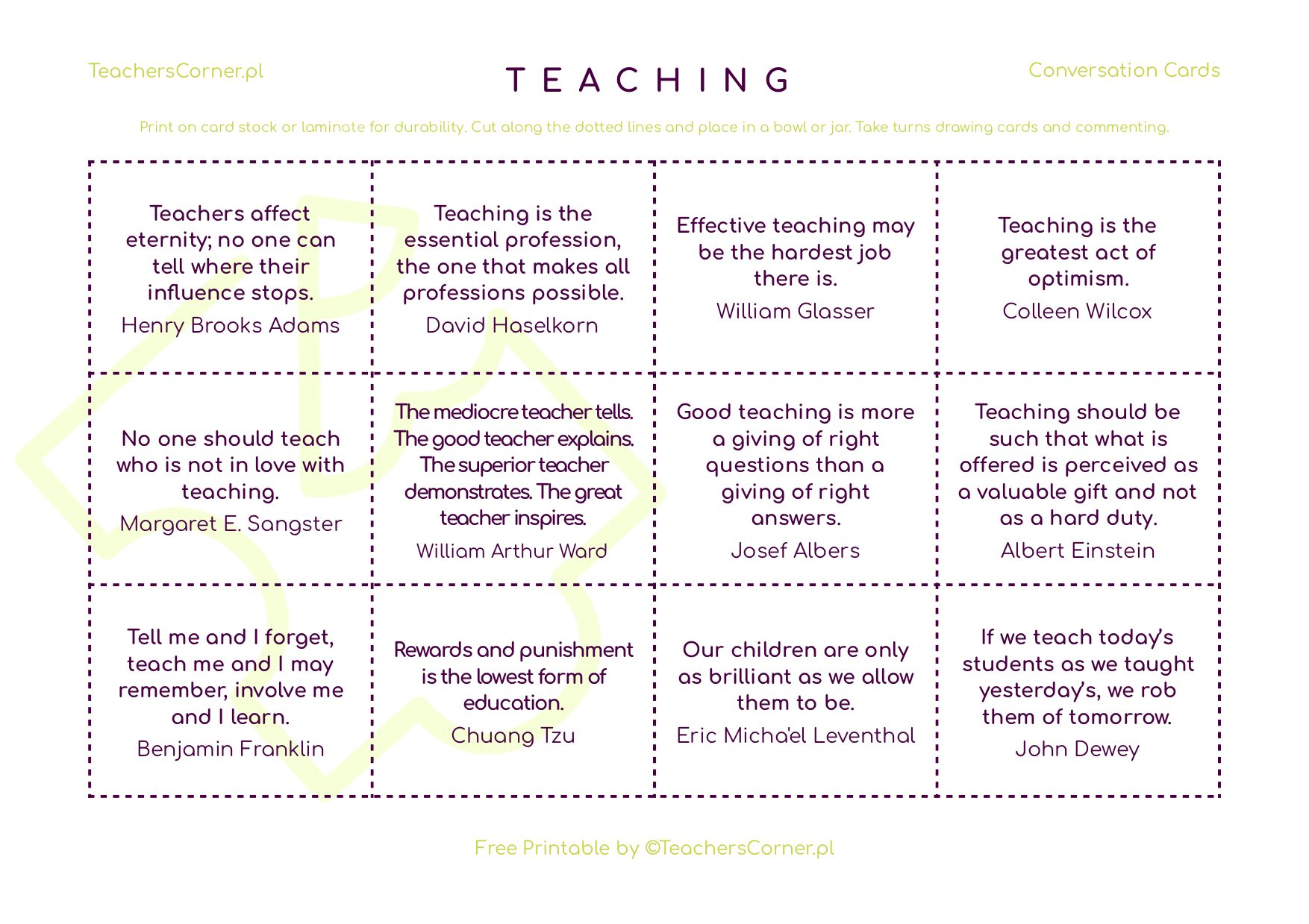 Teaching conversation cards