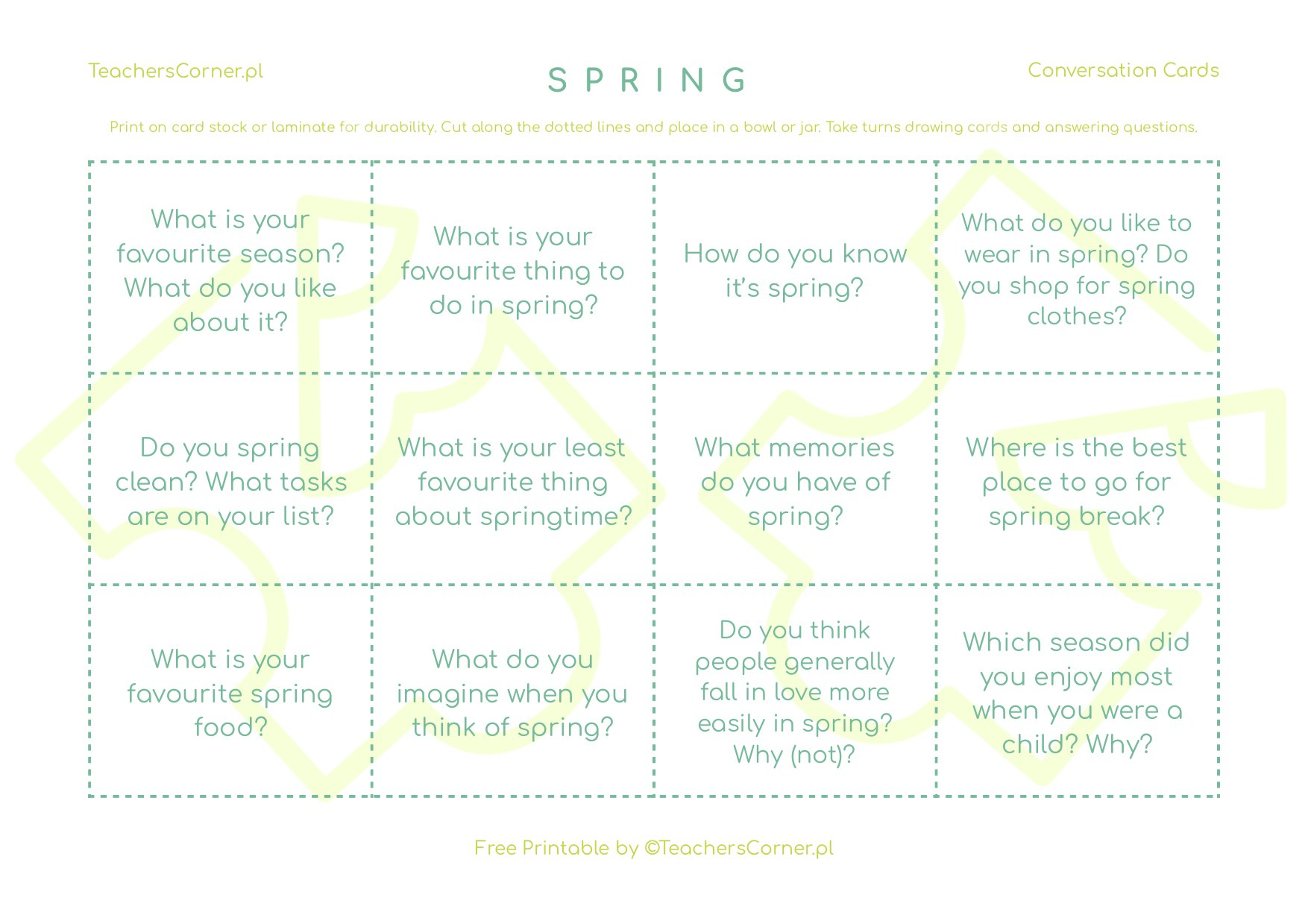 Spring conversation cards