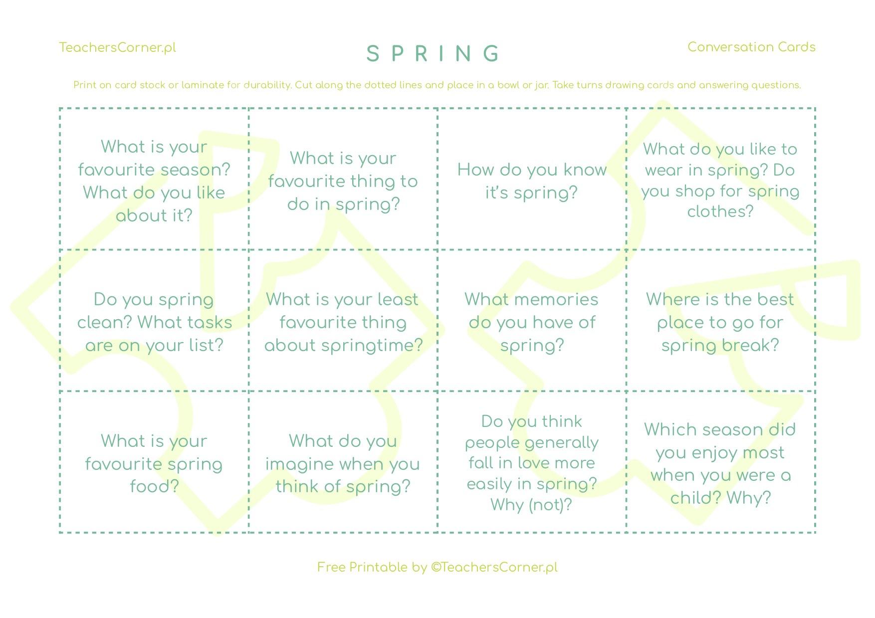 Spring conversation cards