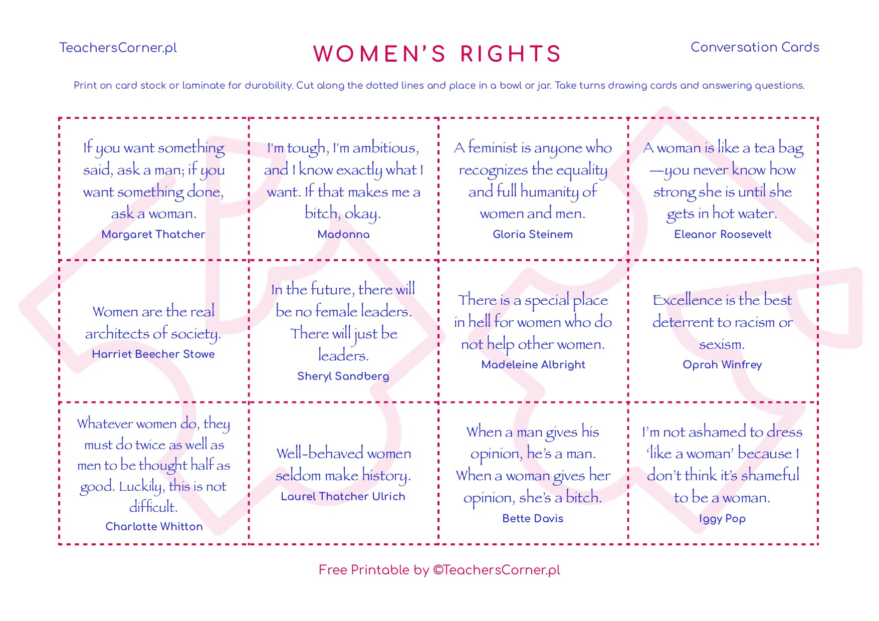 women's rights conversation cards