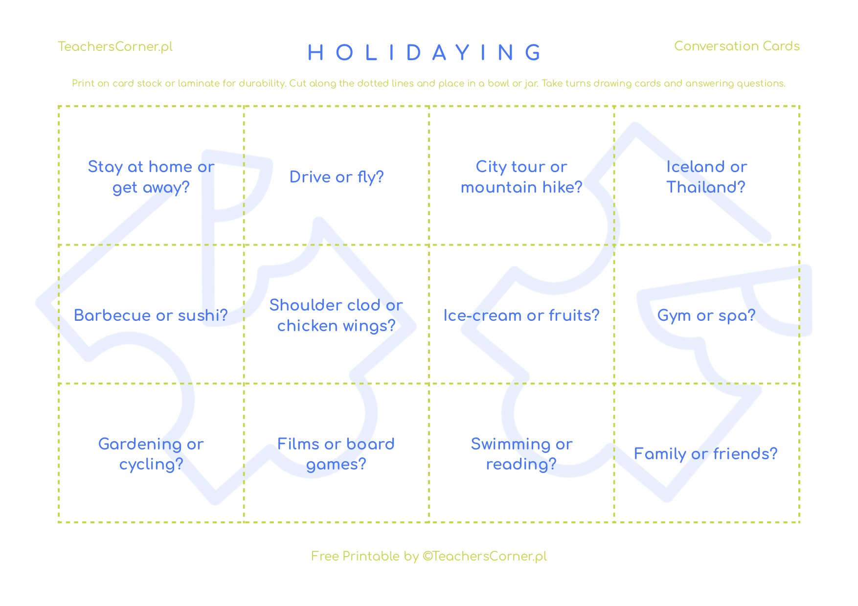 karty konwersacyjjne Holidaying