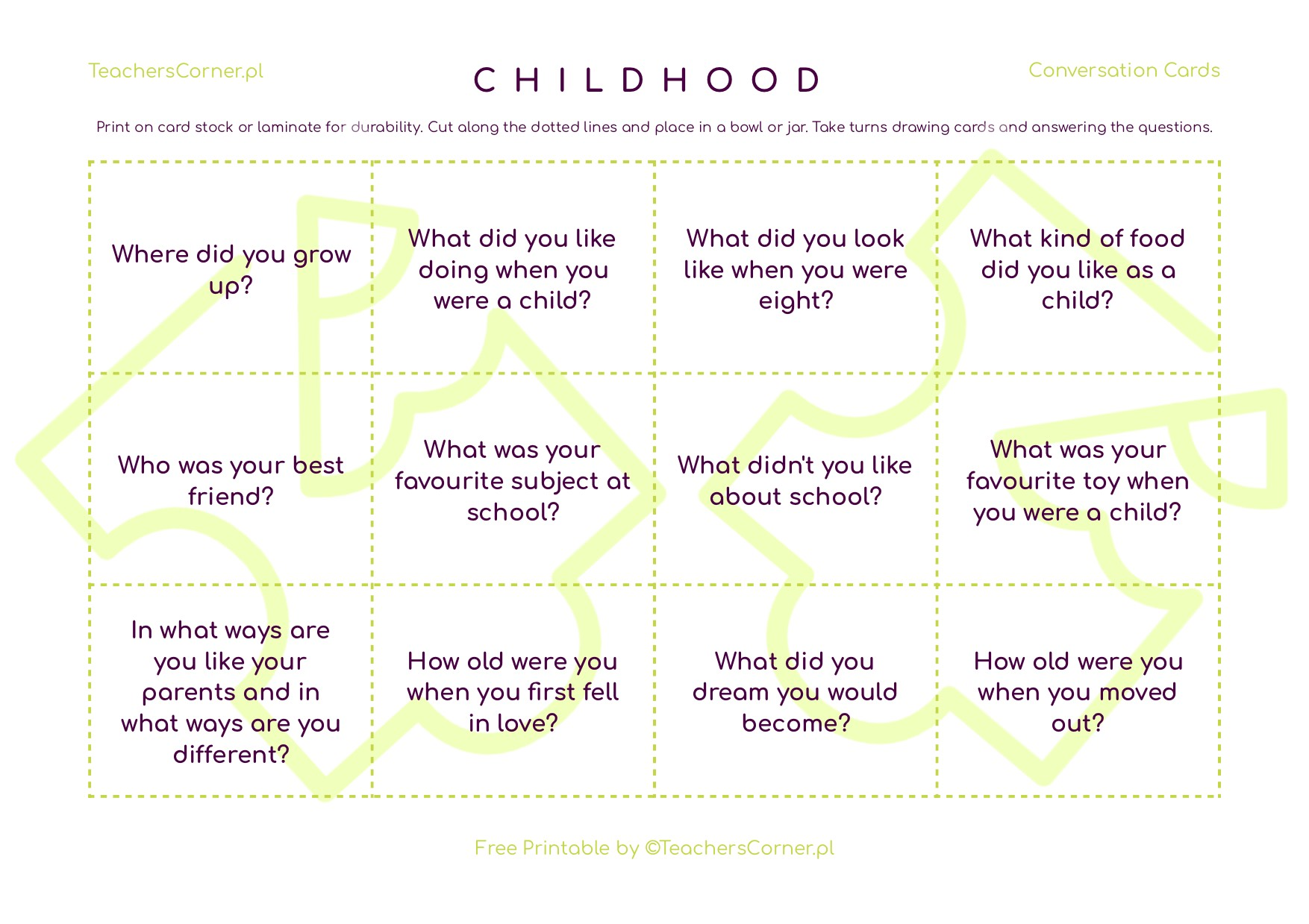 childhood questions conversation cards