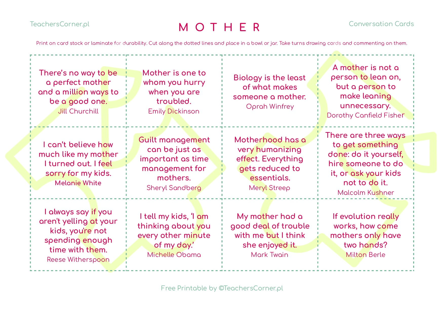 Mother's Day Conversation Cards