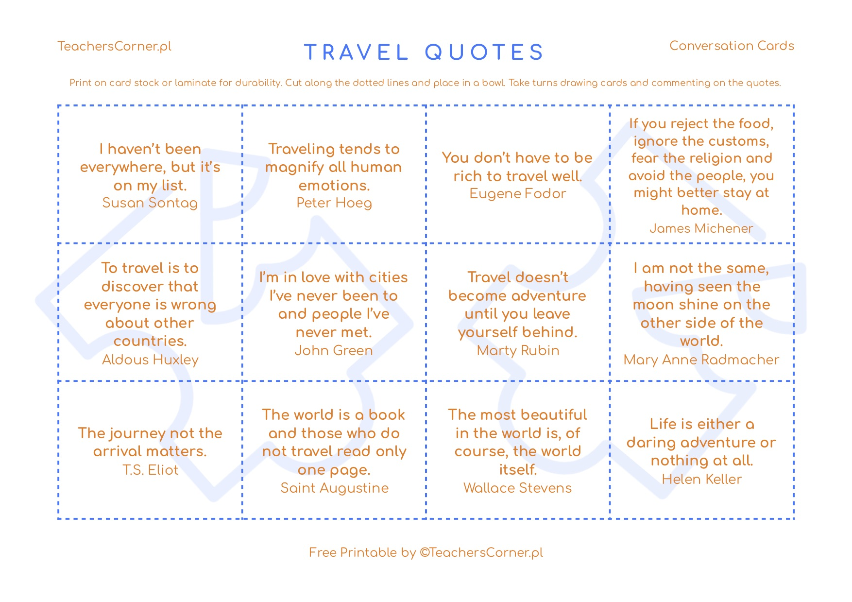 Conversation Cards - Quotes about Travel