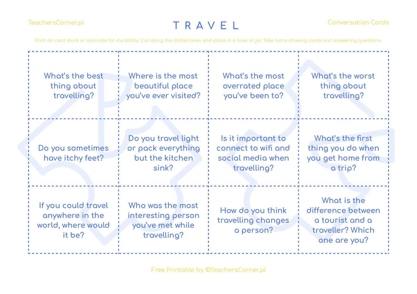 Conversation Cards - Travel Questions