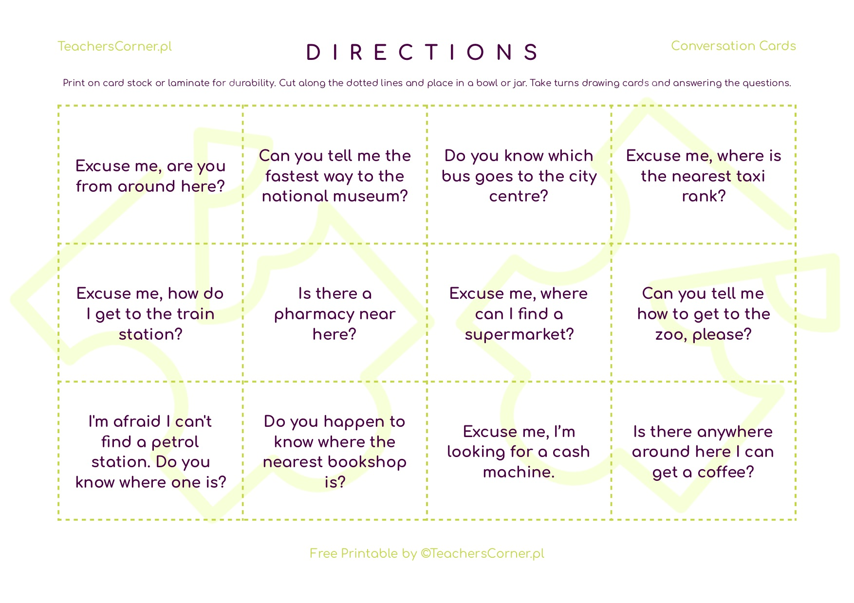 Conversation Cards - giving directions