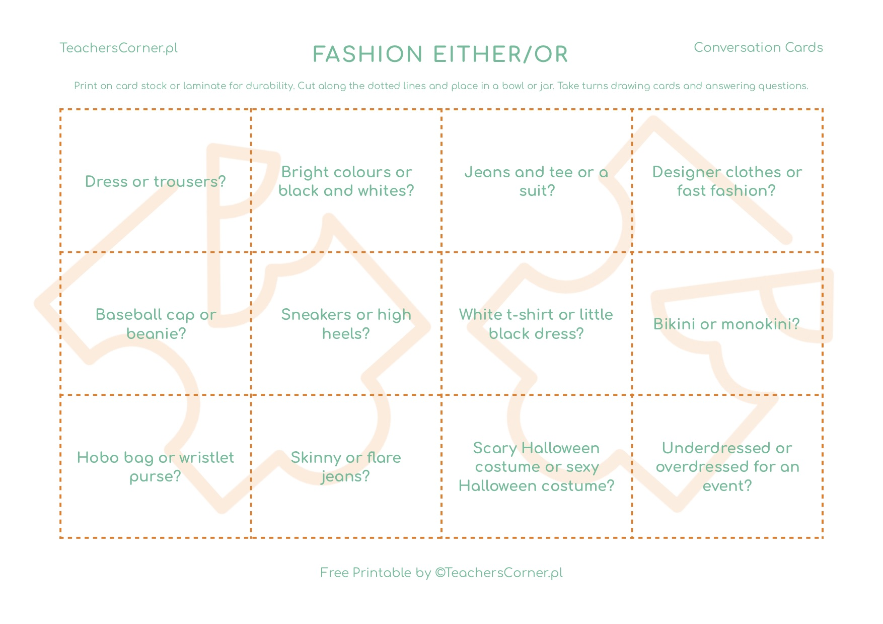 Fashion Either Or Conversation Cards