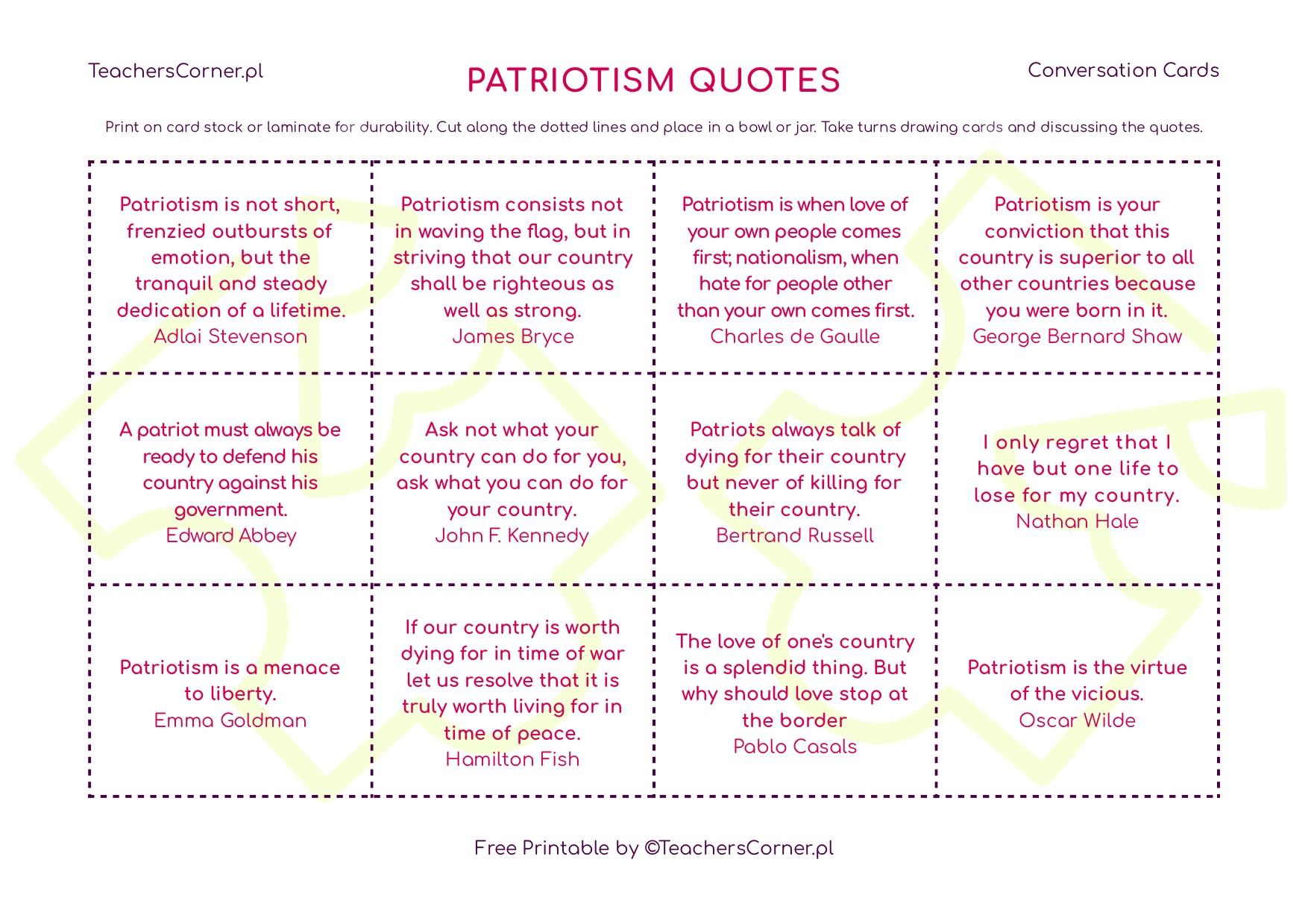 Conversation Cards - Patriotism