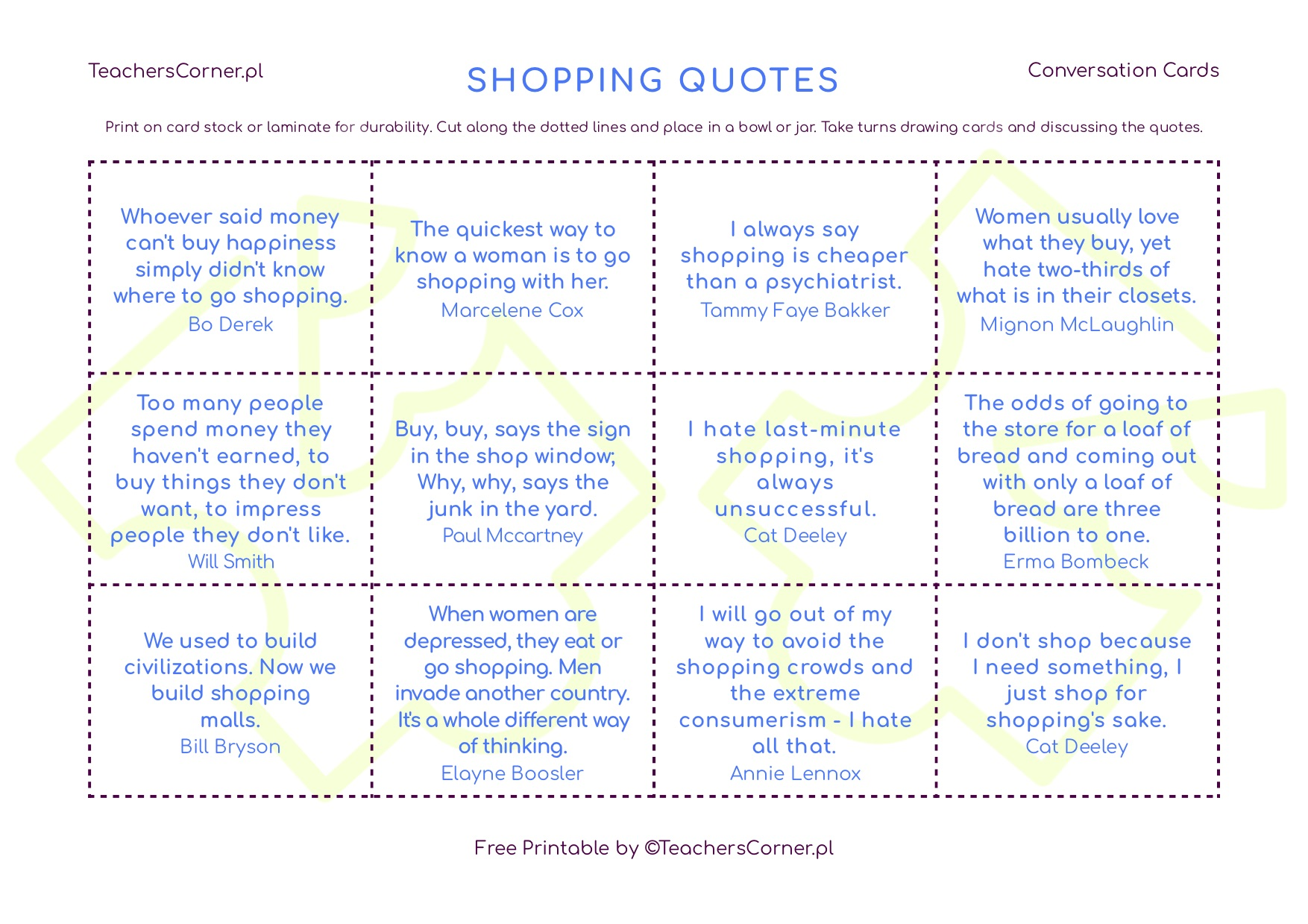 discuss shopping quotes