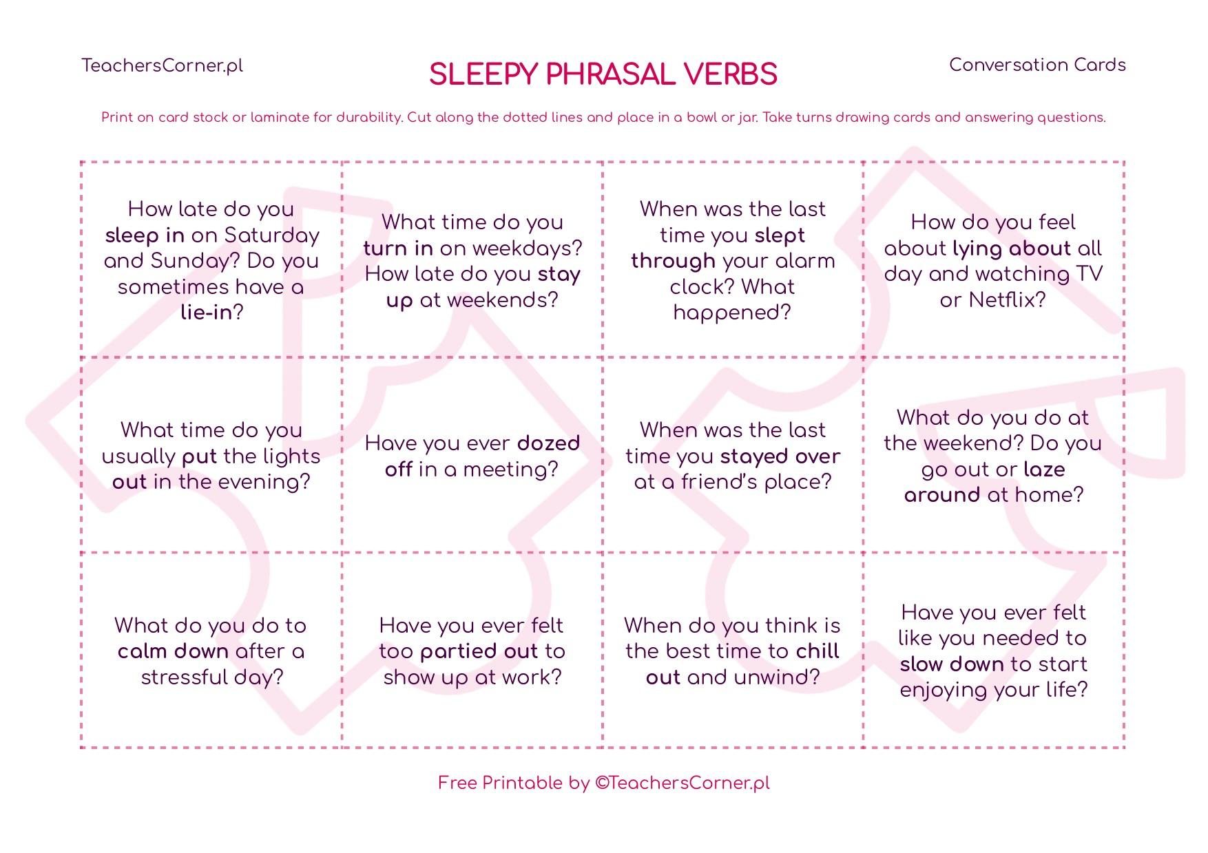 Sleepy Conversation Cards