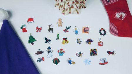 materiały potrzebne do stworzenia świątecznych flashcards