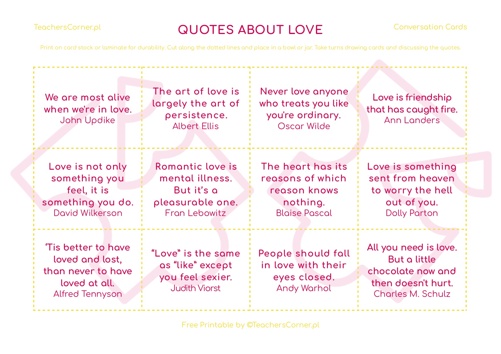 Quotes about love - karty konwersacyjne