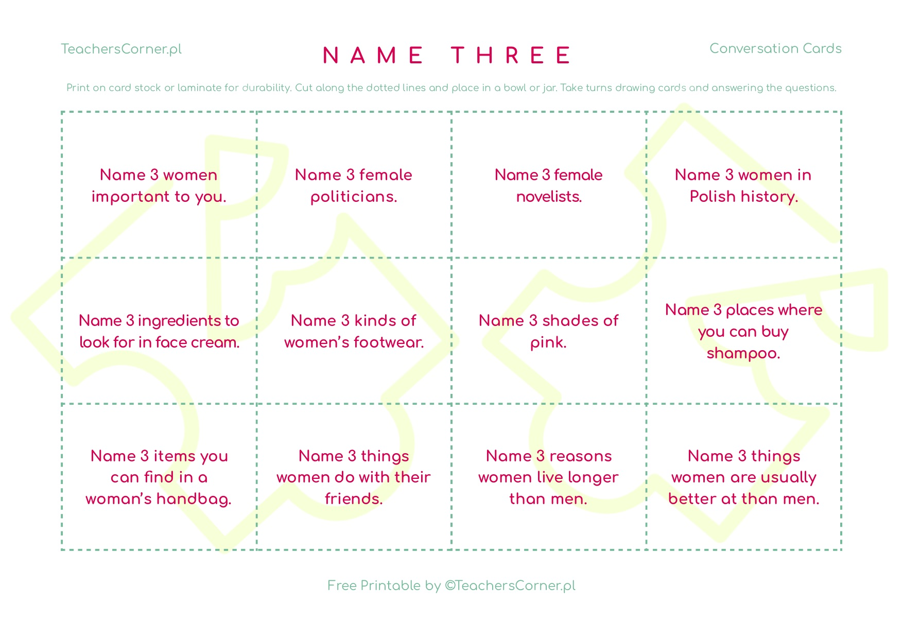 Name three women - conversation cards