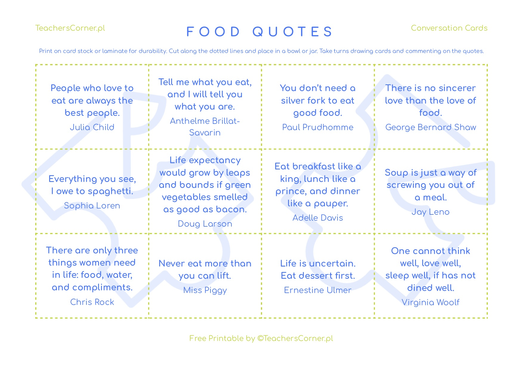 Conversation Cards - Food Quotes