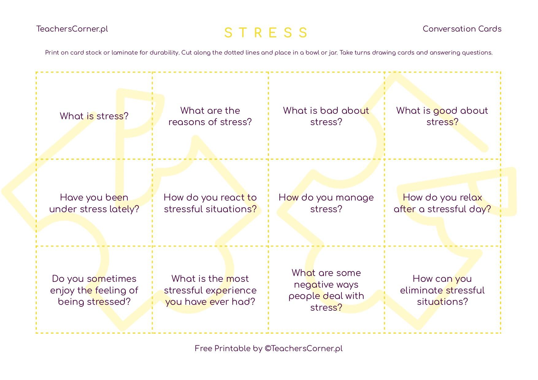 karty konwersacyjne Stress