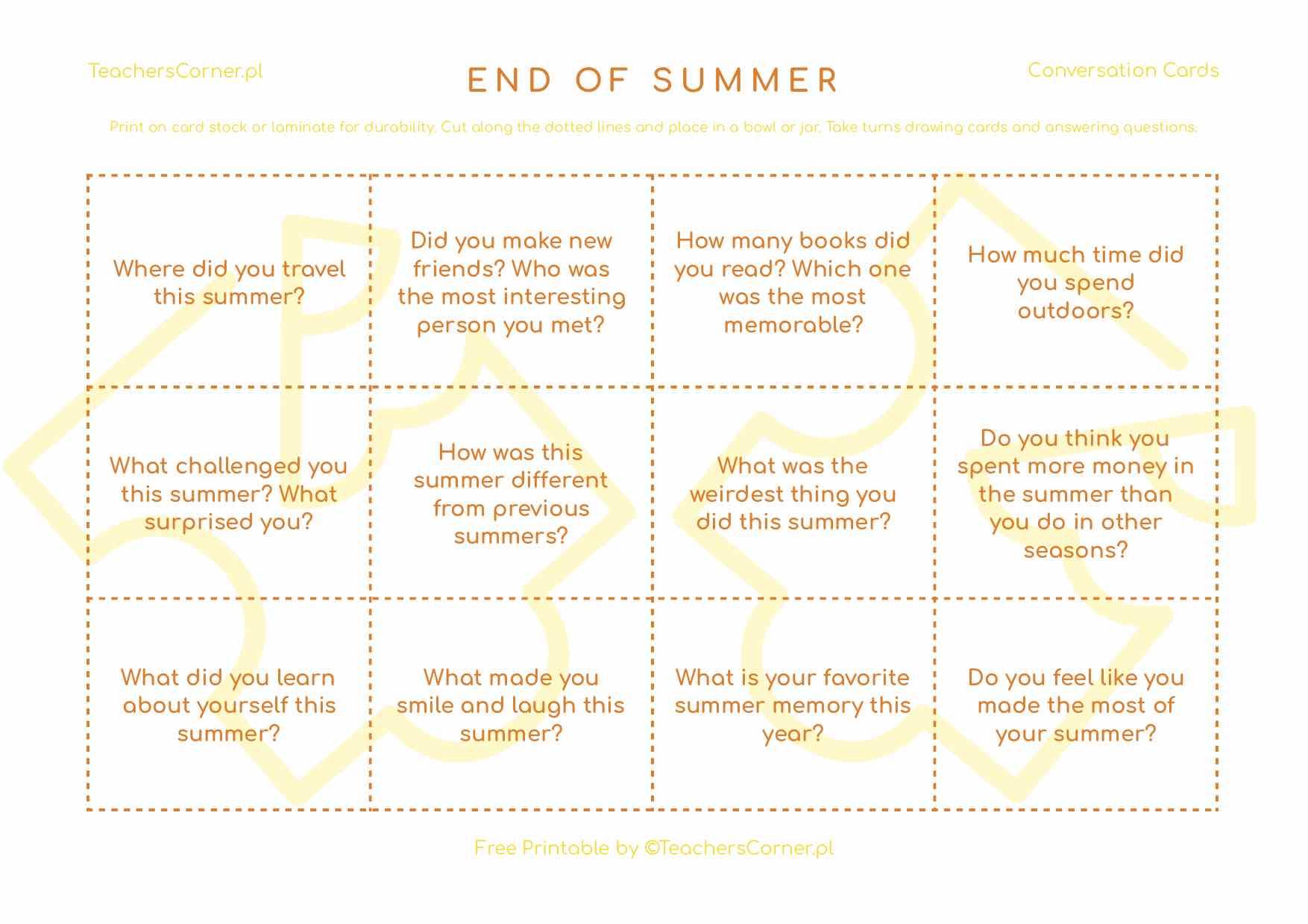 karty konwersacyjne End of Summer