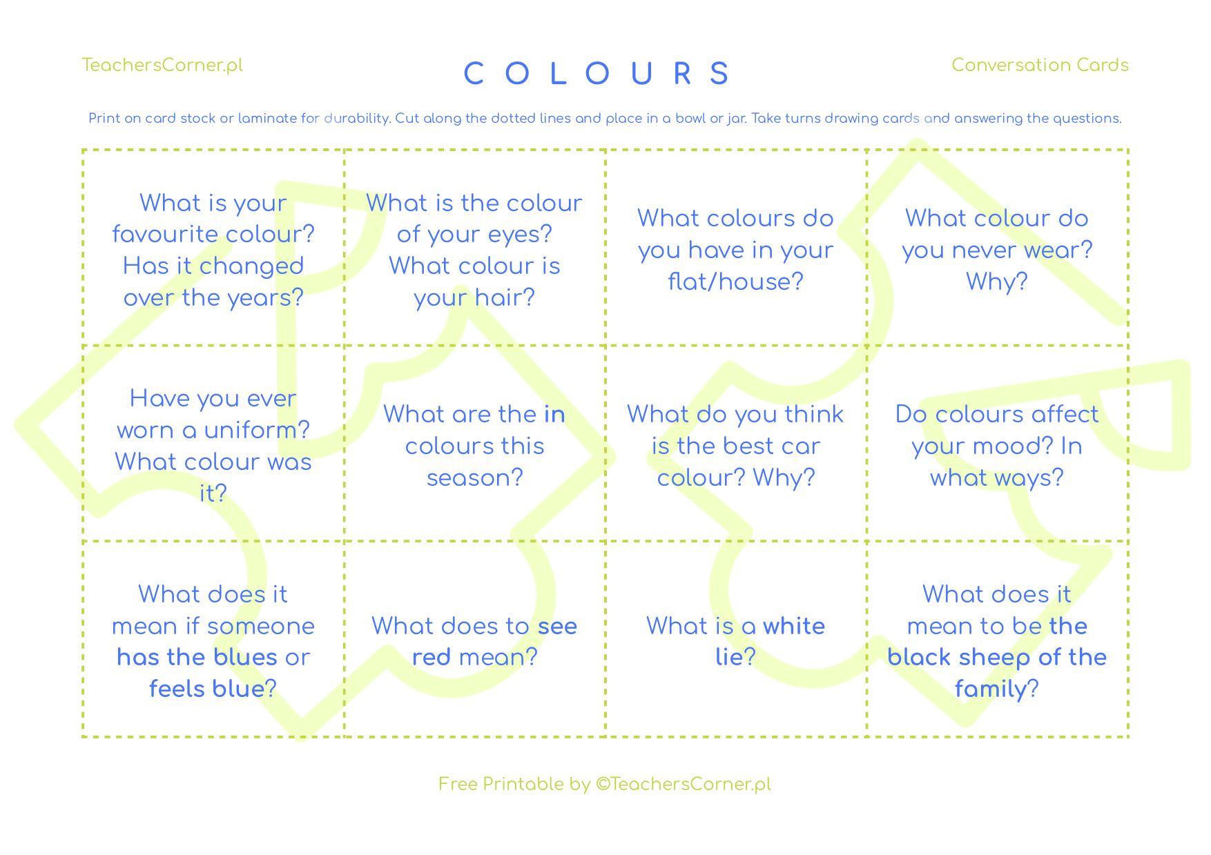 Karty konwersacyjne Colours