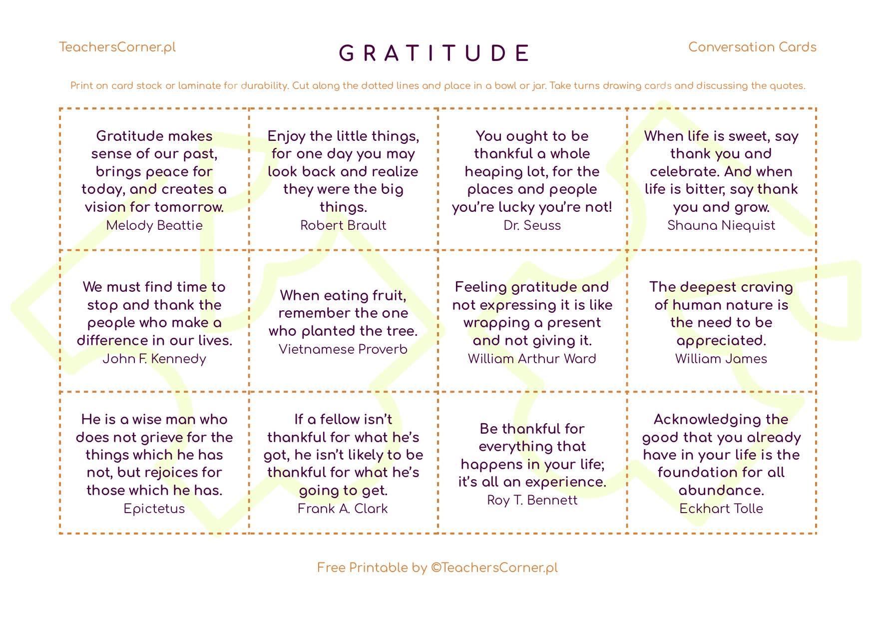 Karty konwersacyjne Gratitude quotes