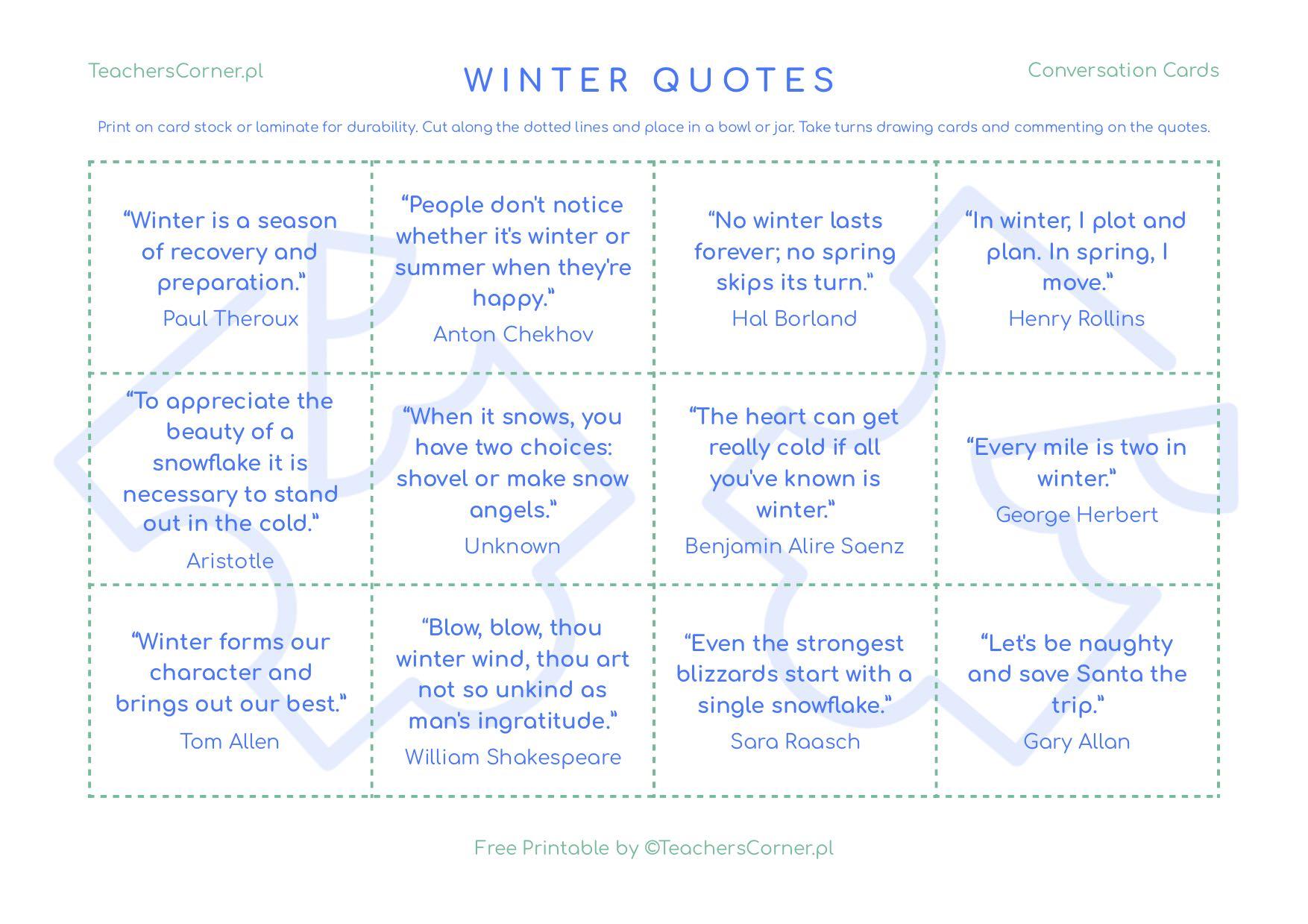 karty konwersacyjne Winter Quotes