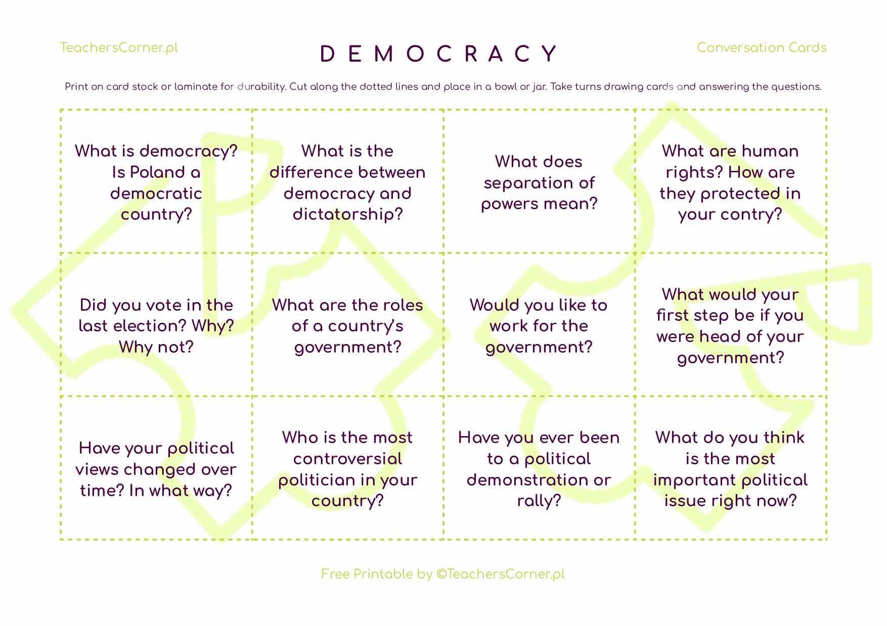 Karty konwersacyjne Democracy
