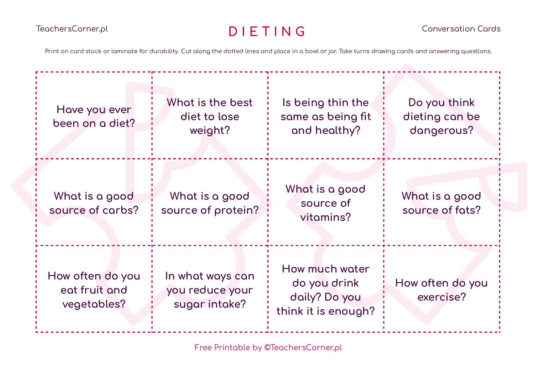 Karty konwersacyjne - Dieting