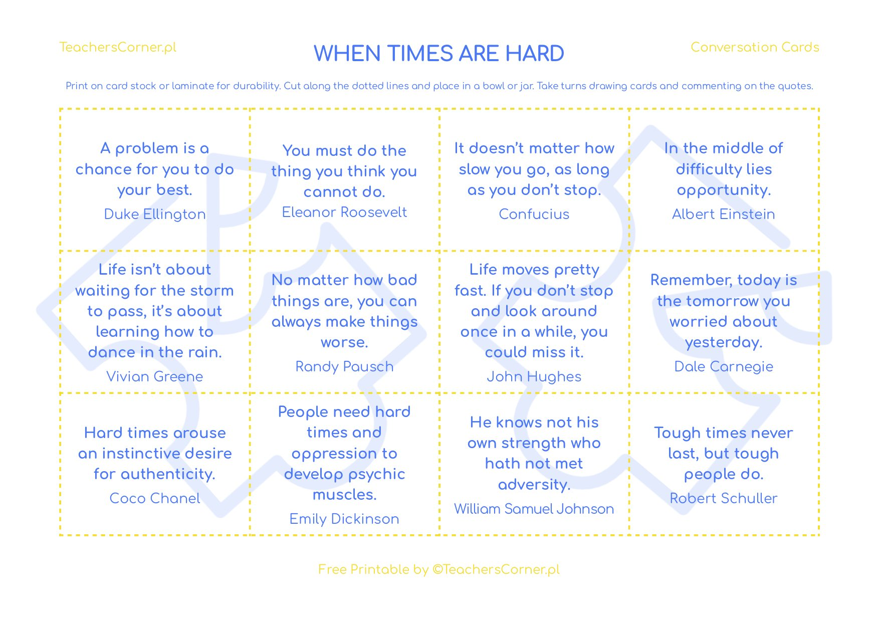 When Times Are Hard - Conversation Cards