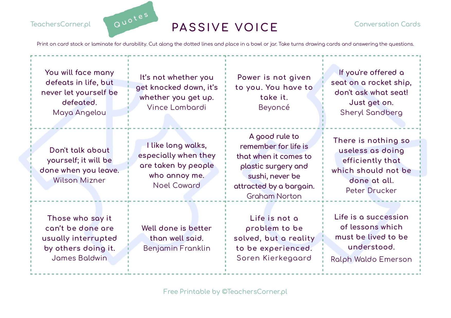 Karty konwersacyjne z cytatami Passive Voice