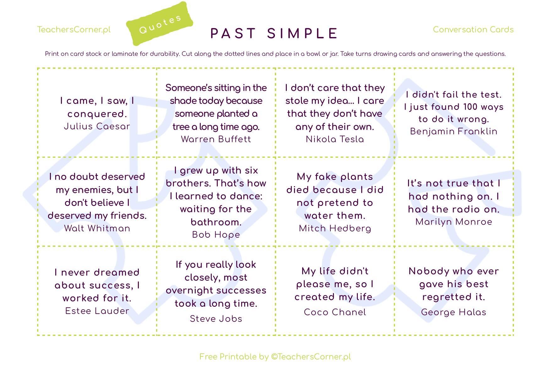 karty konwersacyjne Past Simple