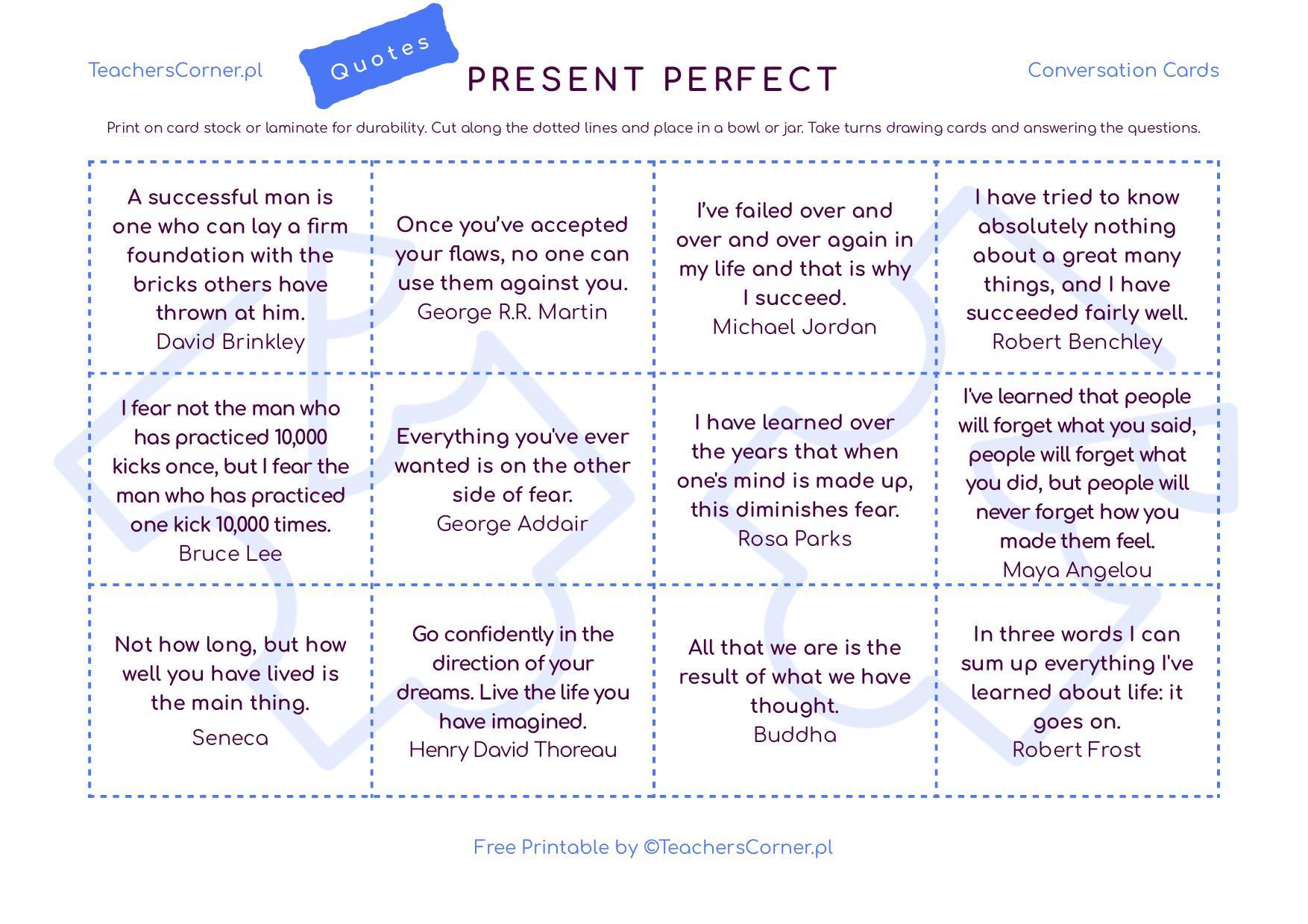 Karty konwersacyjne z cytatami Present Perfecr