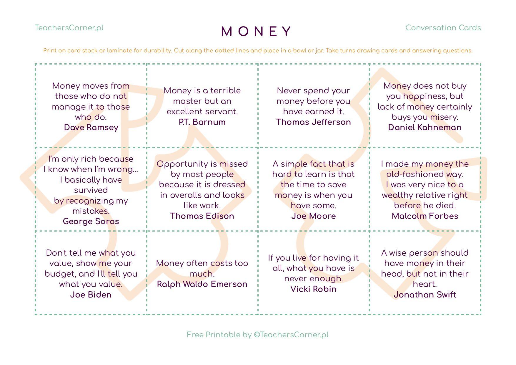 karty konwersacyjne Money